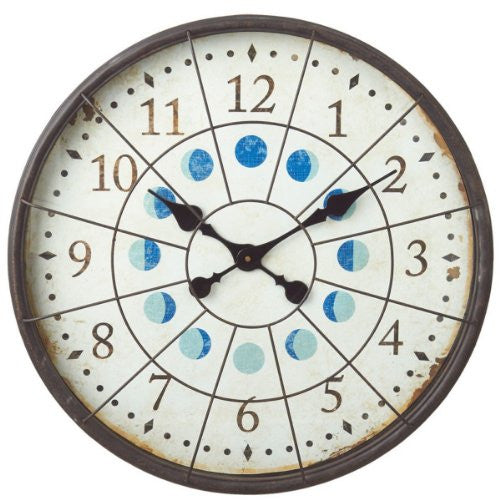 Distressed Nautical Porthole Extra Large Wall Clock with Moon Phases - 23-in - Mellow Monkey
