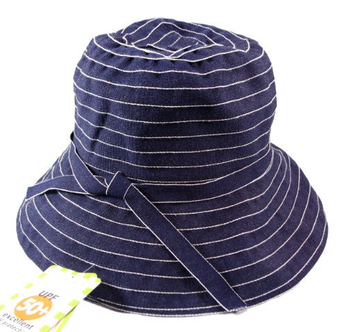 Jeanne Simmons Twill Travel Bucket Hat for Women - UPF 50+ UV Sun Protection (Blue Denim) - Mellow Monkey