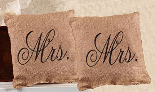 Mrs. and Mrs. French Flea Market Burlap Accent Throw Pillow Set - 8-in x 8-in each - Mellow Monkey