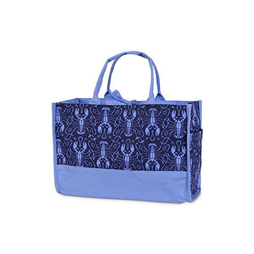 Maine Squeeze Open Tote Bag - Lobster Print in Navy / Cornflower - Mellow Monkey