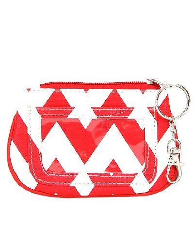 Chevron Zippered ID and Coin Pouch Purse - Faux Leather with Key Ring (Red) - Mellow Monkey