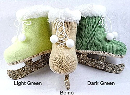 Vintage Knit Ice Skate Ornaments with Glitter Blades (Beige) - Mellow Monkey
