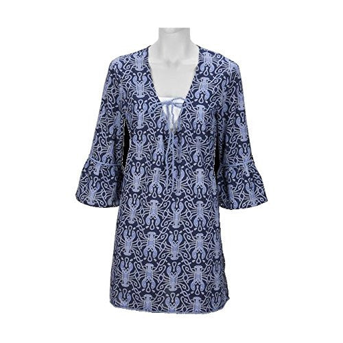 Maine Squeeze Drawstring Women's Beach Tunic - Navy / Cornflower (SMALL (40 chest 33.75 length)) - Mellow Monkey