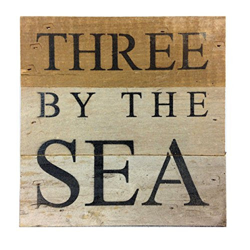 Three By The Sea - Reclaimed Wood Art Sign - 6-in x 6-in - Mellow Monkey