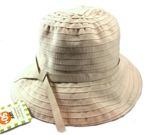 Jeanne Simmons Twill Travel Bucket Hat for Women - UPF 50+ UV Sun Protection (Sand) - Mellow Monkey
