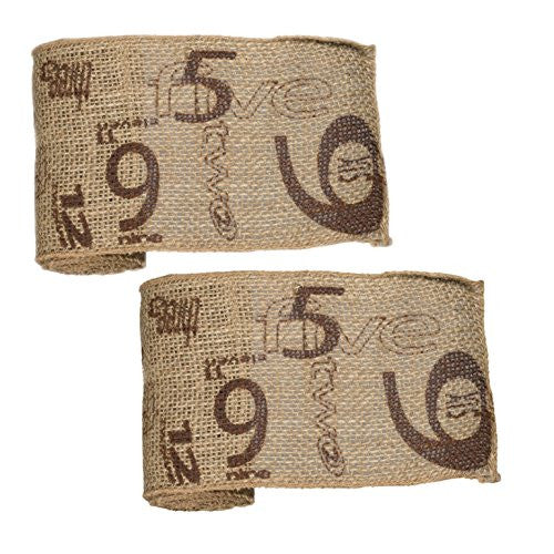 Vintage Numeral Pattern Burlap Ribbon 6-in x 10-ft (2 Pack) (Chocolate Print) - Mellow Monkey