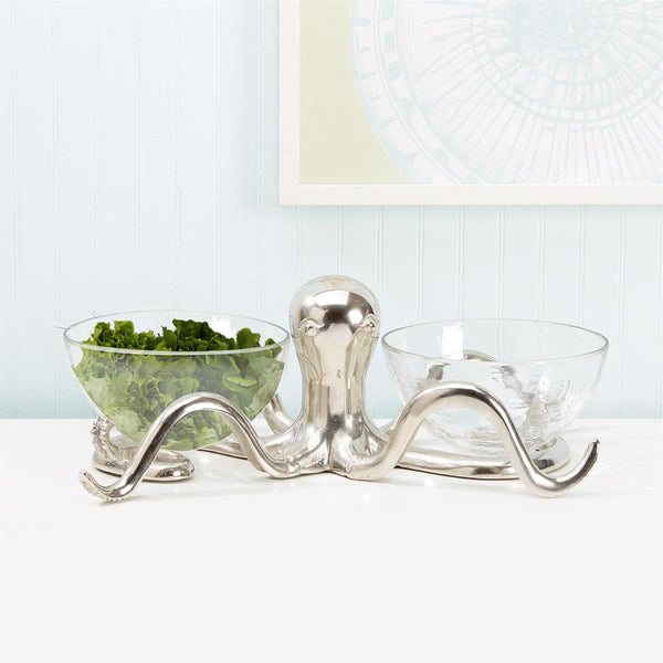 Octopus Serving Bowls Holder with Two Glass Bowls - Aluminum/Glass