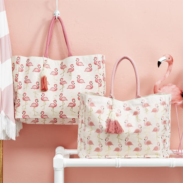 Fabulous Flamingo Pattern Tote Bag with Metallic Print and Tassel