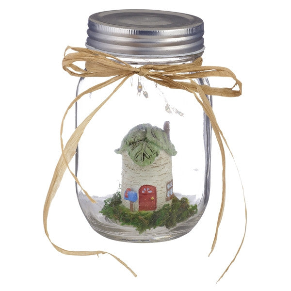 Fairy Garden in an Illuminated Mason Jar (Tree house) - Mellow Monkey