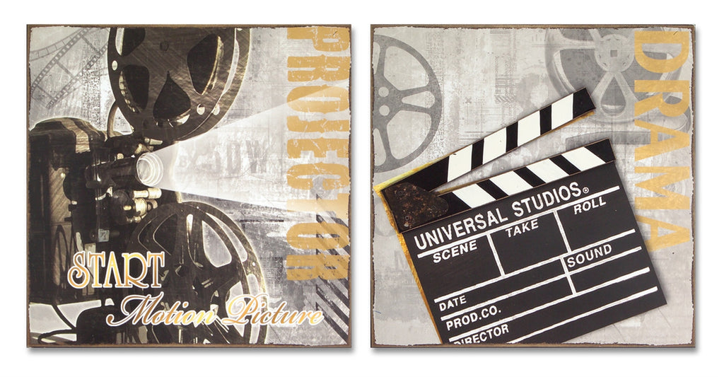 Hollywood Movie Cinema Wall Art Decor Set of 2 - Mellow Monkey