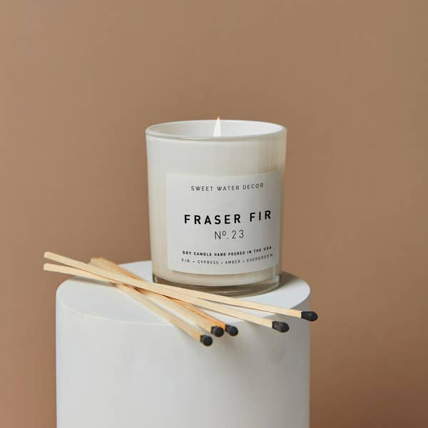 Frasier Fir Soy Candle - White Jar Candle