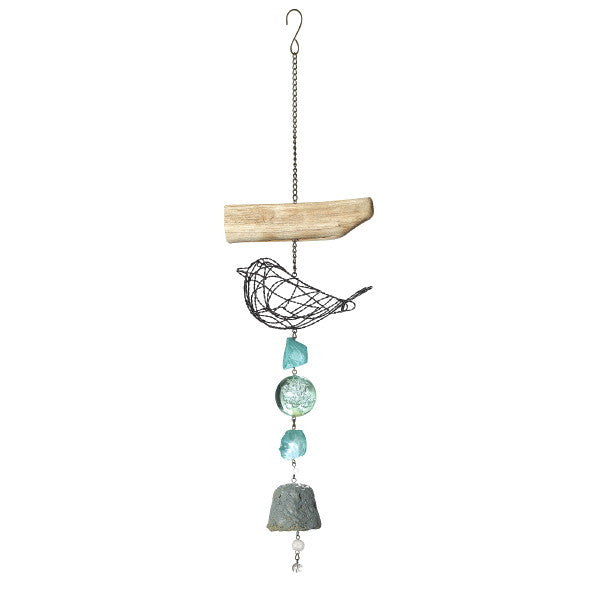 Bird and Bell Hanging Wind Chime with Driftwood - Mellow Monkey  - 1