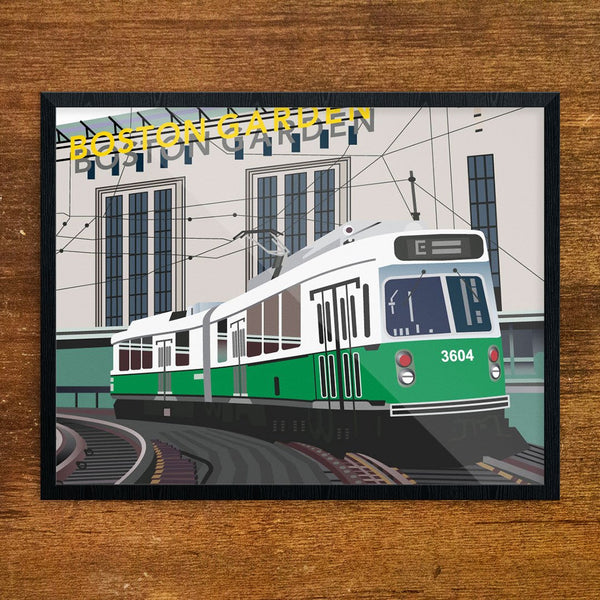 Green Line Trolley Passing the Old Boston Garden Greeting Card