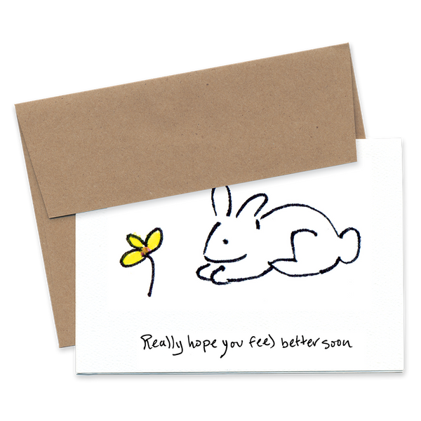 Really Hope You Feel Better Soon - Bunny and Flower - Greeting Card