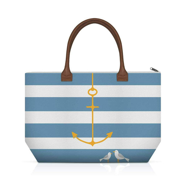 Anchor Striped Blue and White Canvas Tote Bag