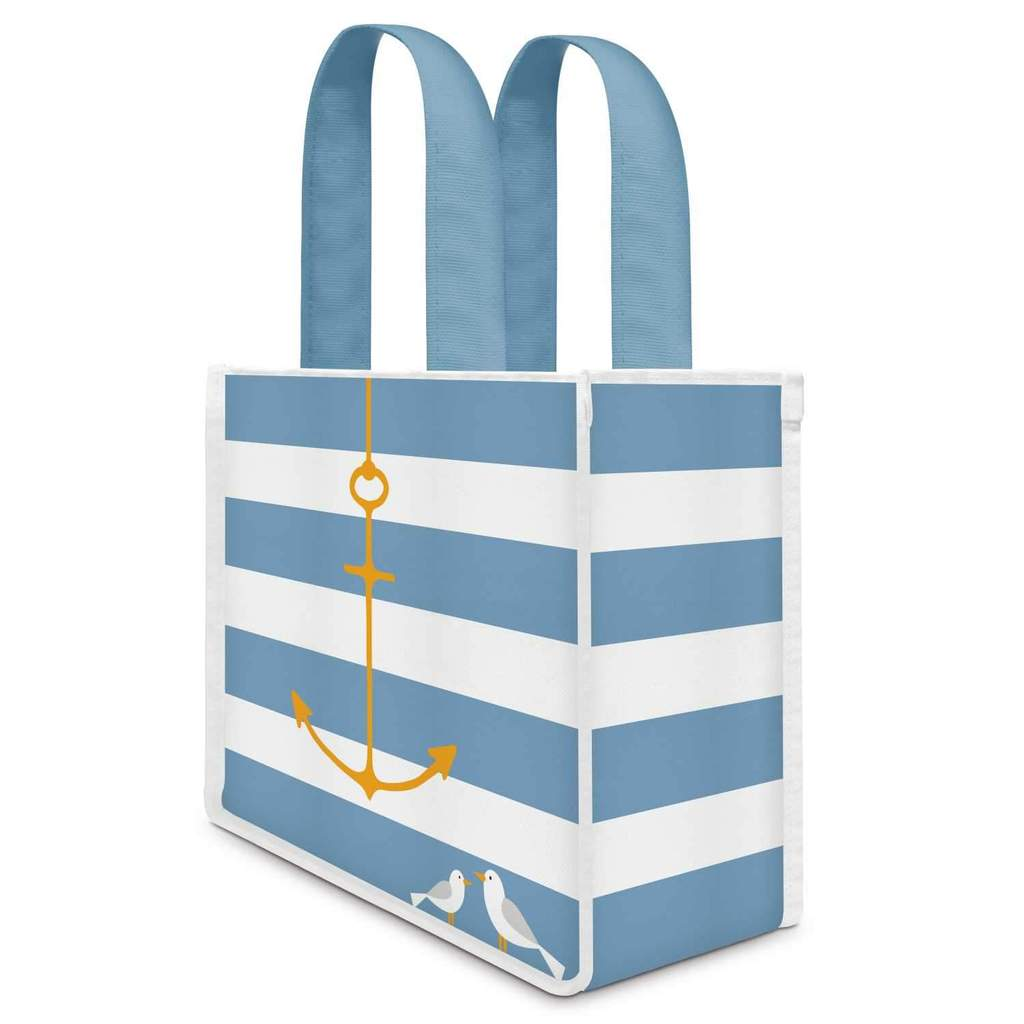 Anchor Striped Blue and White Canvas Lunch Gift Bag