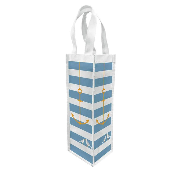 Anchor Striped Blue and White Canvas Wine Bottle Gift Bag