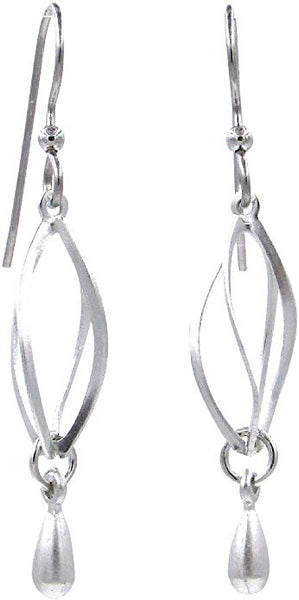 Silver Forest Open Cage Silver Tone Drop Earrings