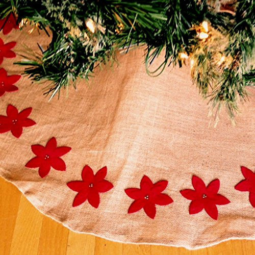 Felicia Poinsettia Design Tree Skirt in Jute and Cotton - 53-in Round (Red Poinsettias) - Mellow Monkey