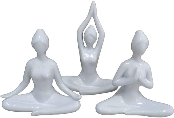 White Ceramic Yoga Figurine -  7-in H