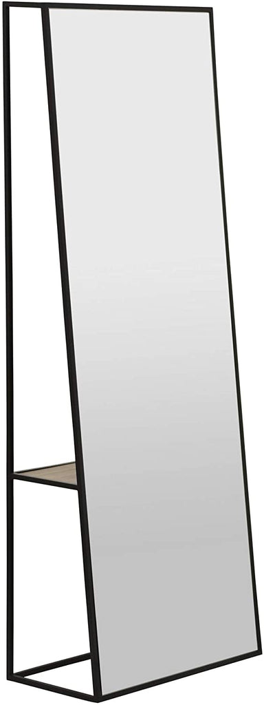 Metal Floor Full Length Mirror with Wood Shelf - 63-in