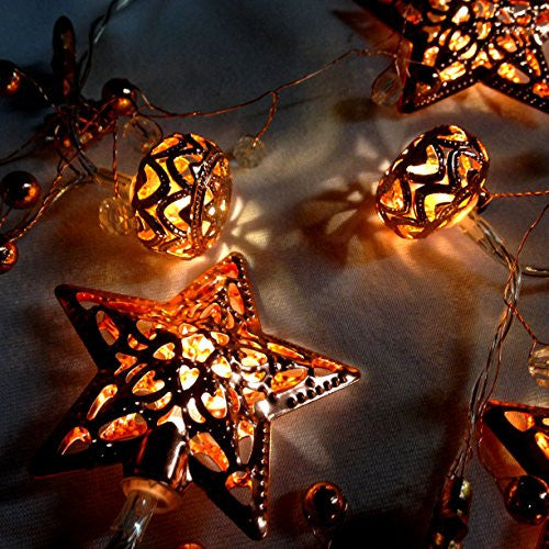 Lighted LED Copper Stars and Ornament String Light Set - 63-in - Mellow Monkey