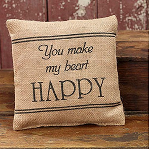 You Make My Heart Happy - French Flea Market Burlap Accent Throw Pillow 8-in x 8-in - Mellow Monkey