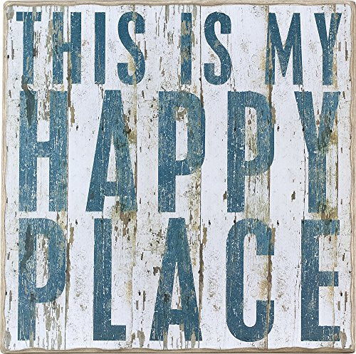 This Is My Happy Place - Vintage Plank Board Beach Coastal Decor Box Sign - Jumbo 18-in x 18-in - Mellow Monkey