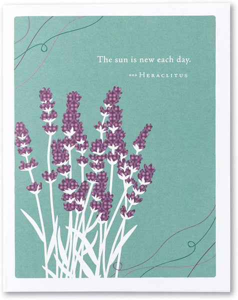 "Positively Green Greeting Card - Get Well  - ""The sun is new each day. "" by Heraclitus"