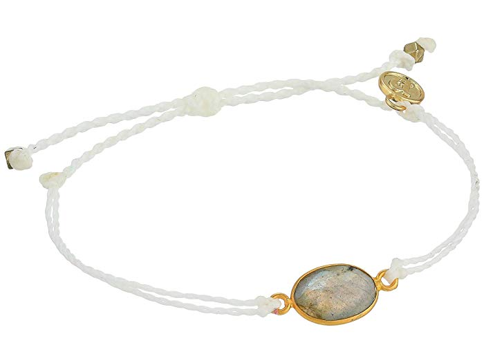 Puravida Oval Labrodite Bracelet - Gold and White
