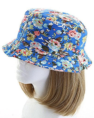 Fashion Floral Women's Bucket Sun Hat (Blue) - Mellow Monkey