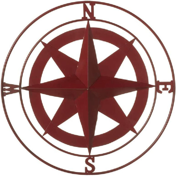Small Red Metal Rose Compass Wall Decor 21-in