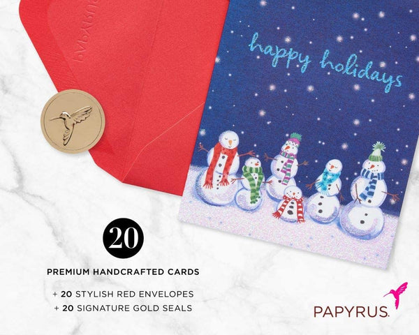Happy Holidays Snowmen - 20 Count Boxed Greeting Card Set