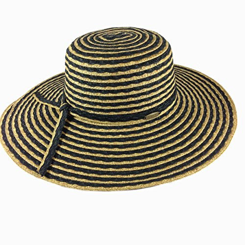 Cappelli Straworld Wide Brim Straw Sun Hat with UPF 50+ Sun Protection (Black) - Mellow Monkey