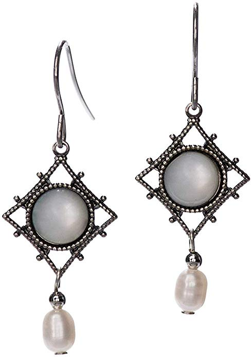 Silver Forest Silvertone and Pearlescent Dangle Earrings
