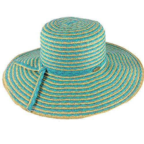 Cappelli Straworld Wide Brim Straw Sun Hat with UPF 50+ Sun Protection (Turquoise) - Mellow Monkey