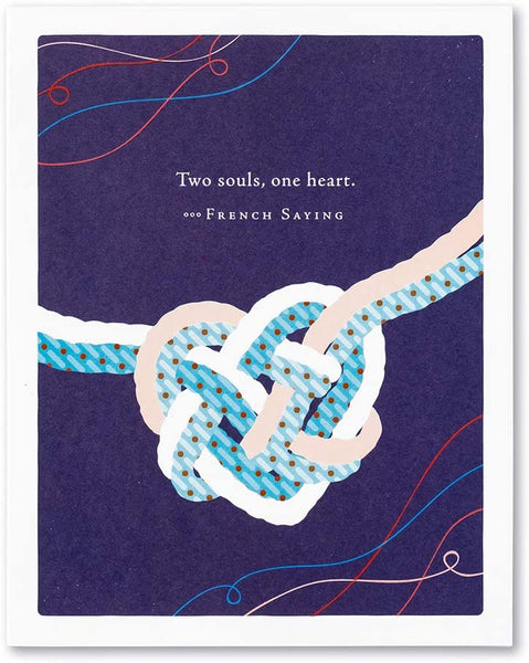 "Positively Green Greeting Card - Wedding - ""Two souls, one heart."" by French Saying"