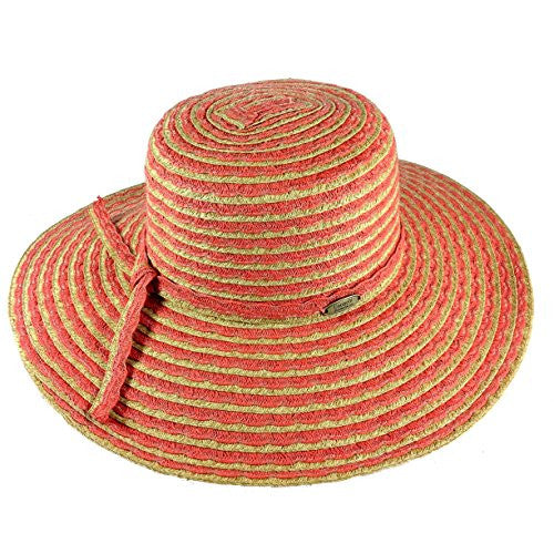 Cappelli Straworld Wide Brim Straw Sun Hat with UPF 50+ Sun Protection (Coral) - Mellow Monkey