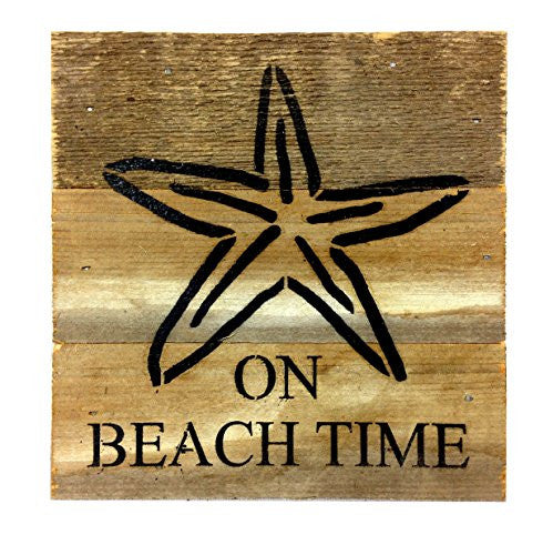 On Beach Time with Starfish Print - Reclaimed Wood Art Sign - 6-in x 6-in - Mellow Monkey