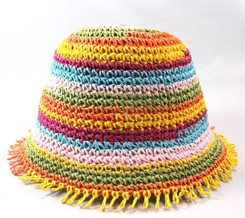 Jeanne Simmons Color Band Woven Straw Girls Hat (Ages 5-12) (Narrow Color Bands) - Mellow Monkey