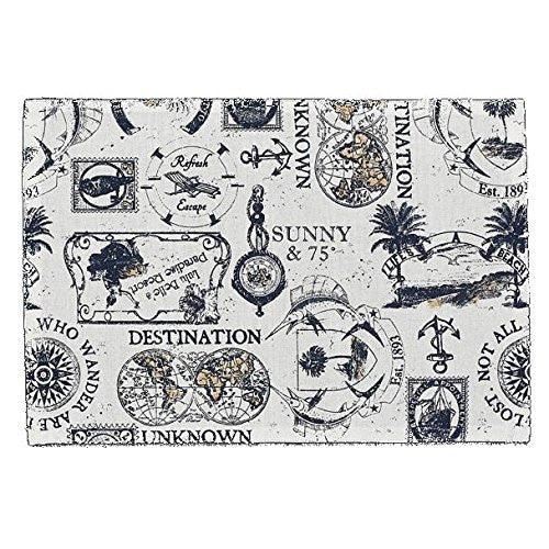 Travelogue Vintage Printed Cotton Placemat Set of 4 - Mellow Monkey
