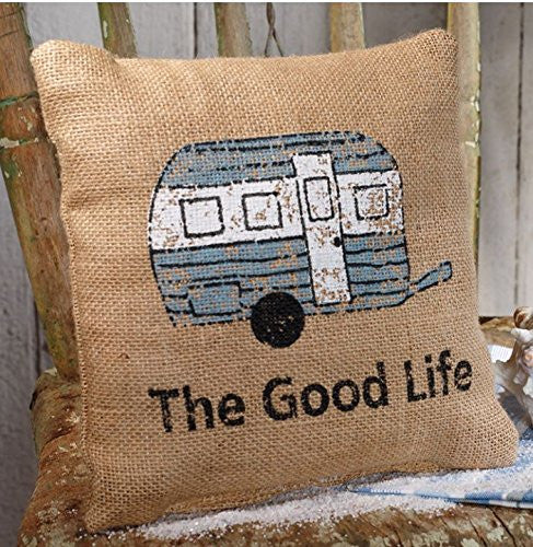The Good Life - Camping / Traveling - French Flea Market Burlap Accent Throw Pillow - 8-in x 8-in - Mellow Monkey