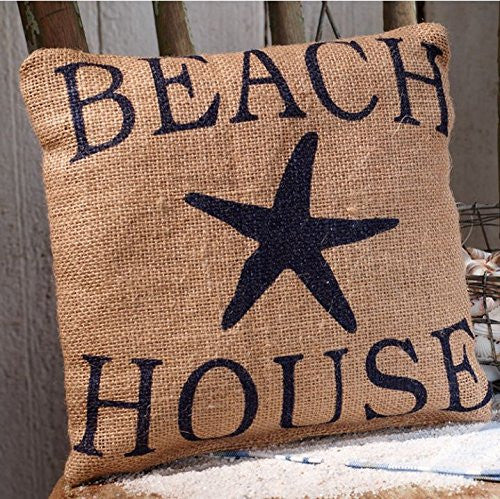 Beach House with Starfish - Burlap Accent Pillow - 8-in x 8-in - Mellow Monkey
