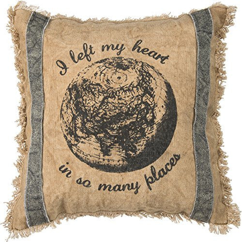I Left My Heart In So Many Places - Decorative Fringed Throw Pillow 12-In Square - Mellow Monkey