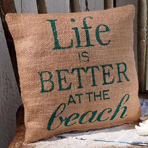 Life is Better at the Beach - French Country Coastal Jute Burlap Pillow 8-in x 8-in - Mellow Monkey