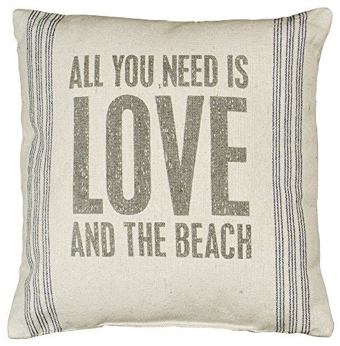 All You Need Is Love And The Beach - Canvas Throw / Accent Pillow - 15-in - Mellow Monkey
