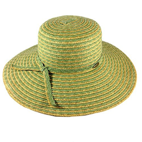 Cappelli Straworld Wide Brim Straw Sun Hat with UPF 50+ Sun Protection (Olive) - Mellow Monkey