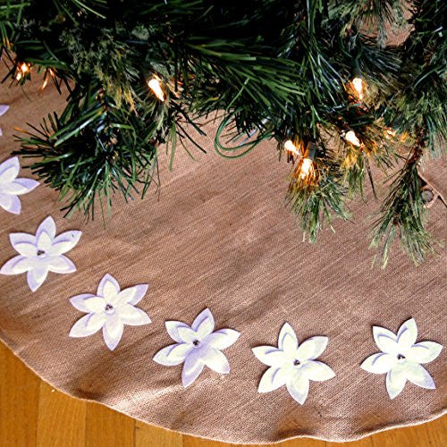Felicia Poinsettia Design Tree Skirt in Jute and Cotton - 53-in Round (White Poinsettias) - Mellow Monkey
