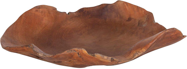 Decorative Hand-Carved Teak Wood Bowl - Brown