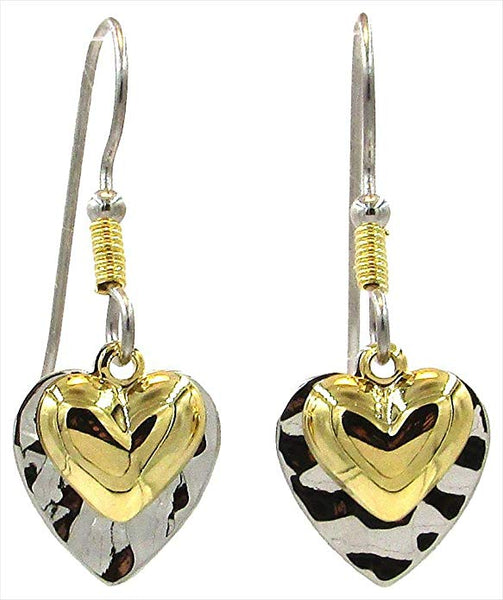 Silver Forest Two Tone Layered Hearts Drop Earrings